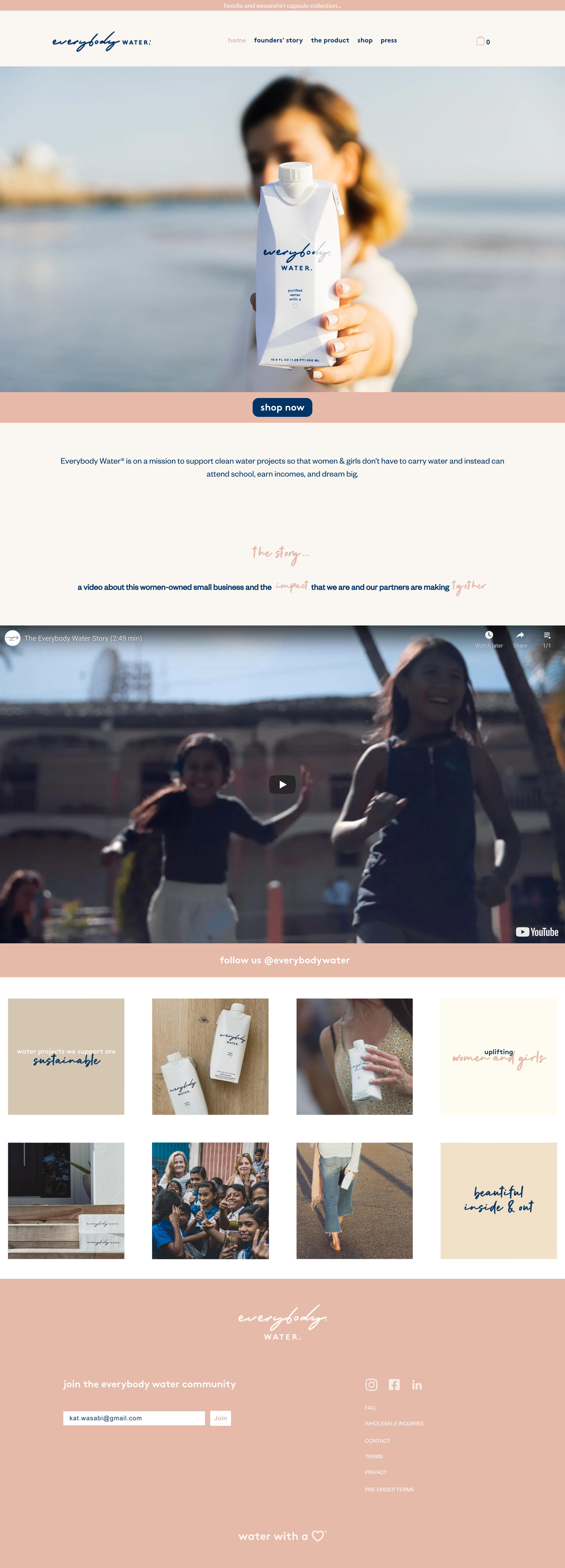 everybody water website screenshot