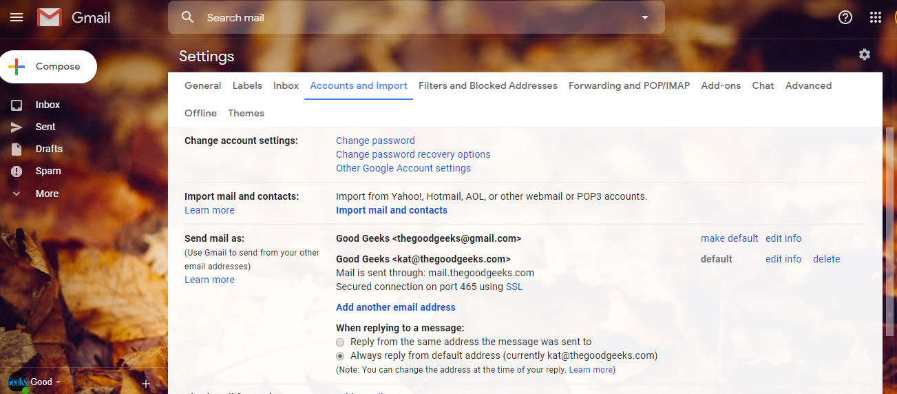 image showing general account settings at gmail.com