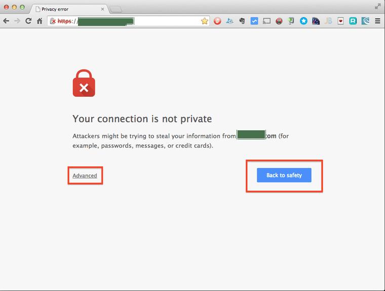 google error message when no ssl certificate is present on a website