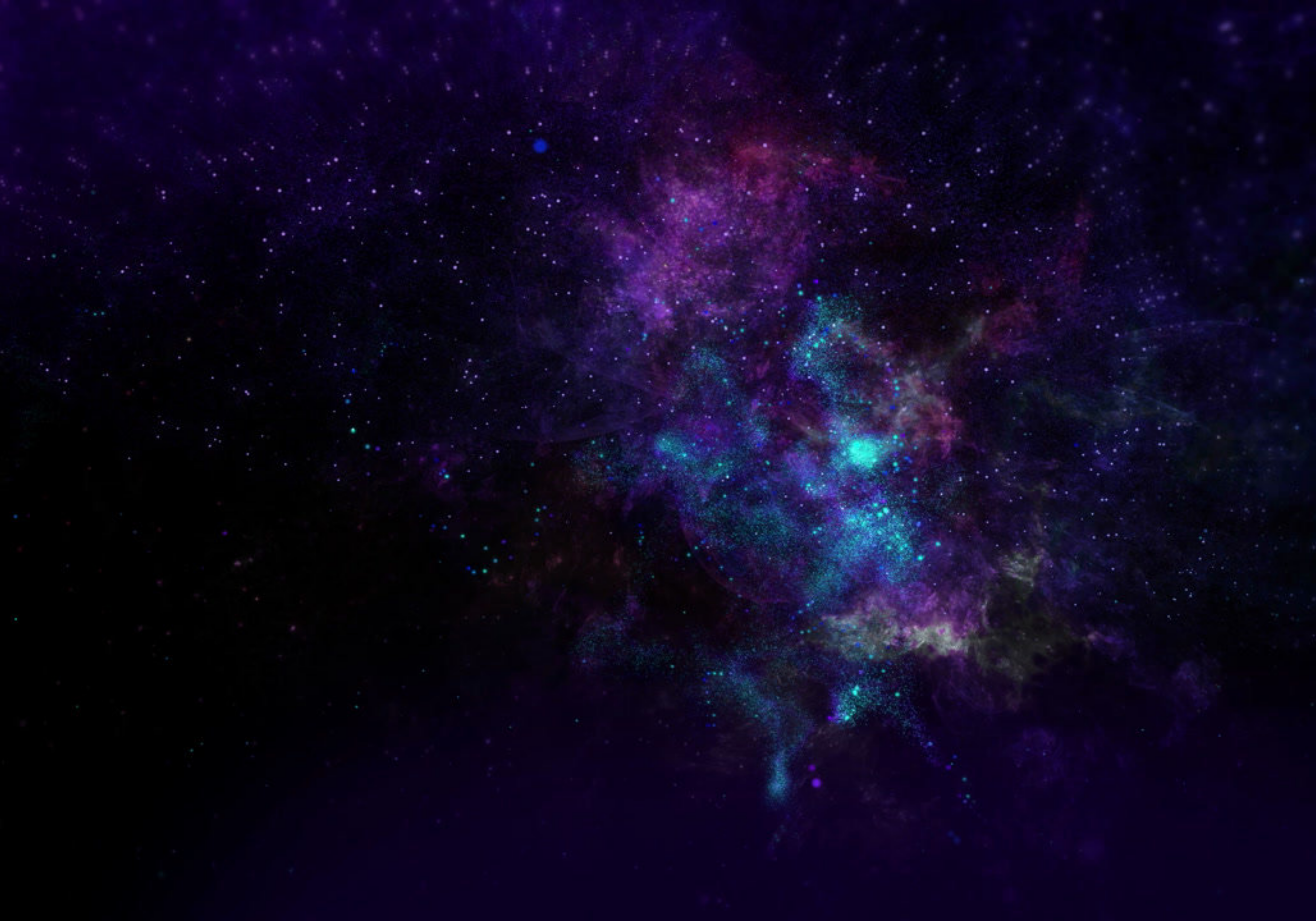dark simulated picture of the universe with black, dark blues and purples